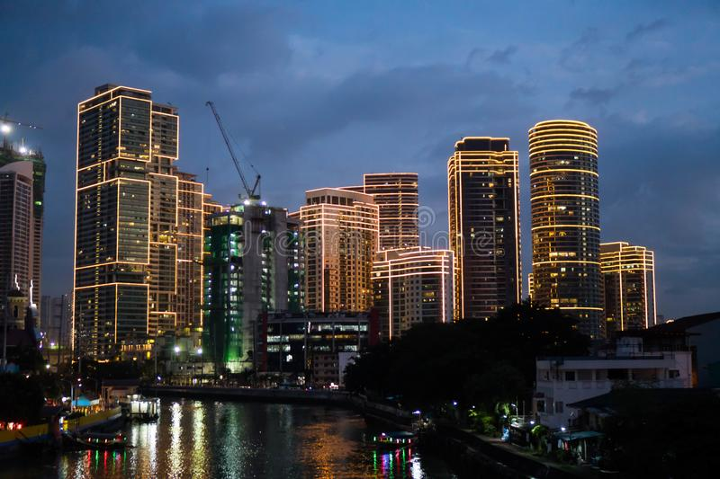 San Juan, Philippines - November 23, 2018: a view of Rockwell Center along Pasig River stock photo
