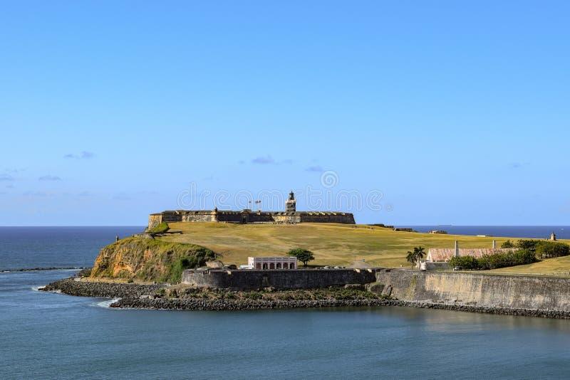 San Juan, Porto Rico - 2 avril 2014 : Vue de l'océan de Castillo San Felipe del Morro photos stock
