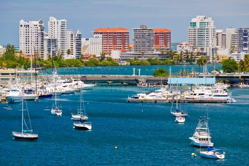 San Juan, PR - Beautiful San Juan Bay and Boats stock photography
