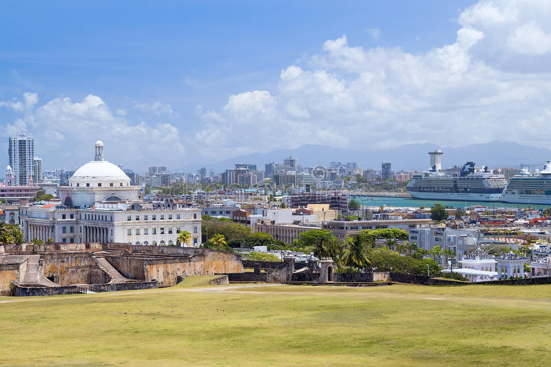San Juan, PR/USA - 04 11 2015: Panorama of old city San Juan, Puerto Rico. San Juan, Puerto Rico/USA - circa April 2015: Panorama of old city San Juan, Puerto royalty free stock image