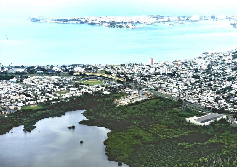 San juan puerto rico aerial view  panorama city royalty free stock photos