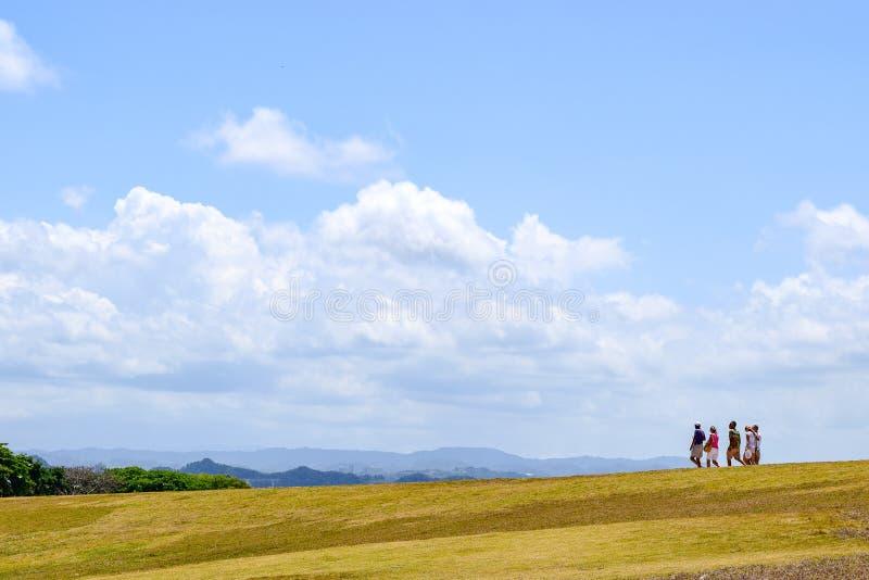 San Juan, Puerto Rico - April 02 2014: Tourists making their way downhill royalty free stock photography