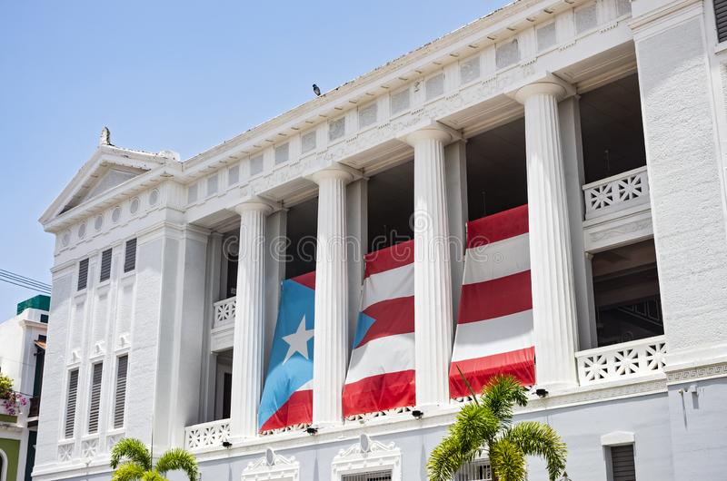 Landmark University Building in Old San Juan. San Juan, PUERTO RICO - August 4, 2018: Carlos Albizu University in the heart of San Juan is the first independent stock image