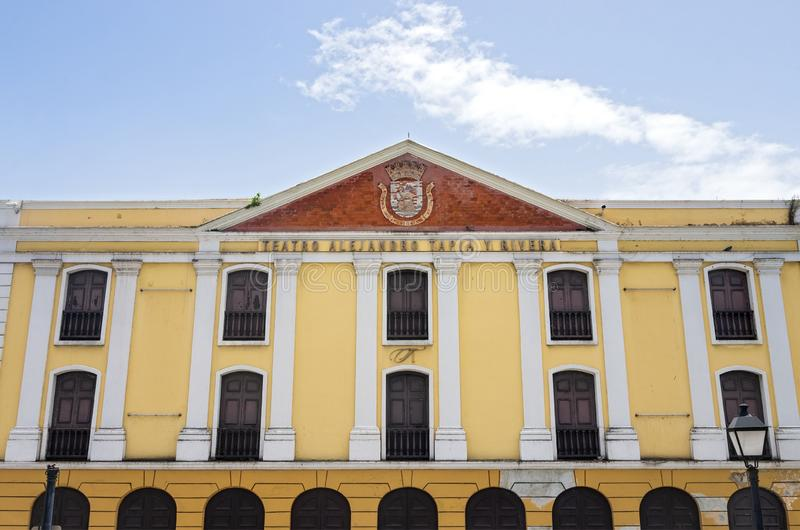 Facade of Landmark Theater in Old San Juan. San Juan, PUERTO RICO - August 4, 2018: The Tapia Theater is the oldest permanent theater of Puerto Rico. It was royalty free stock photo