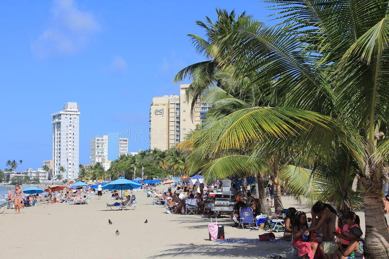 SAN JUAN PUERTO RICO BEACH. SAN JUAN, PUERTO RICO. MARCH 1, 2015. Isla Verde Beach is a very popular area for tourists and locals alike. It is lined with resorts stock image