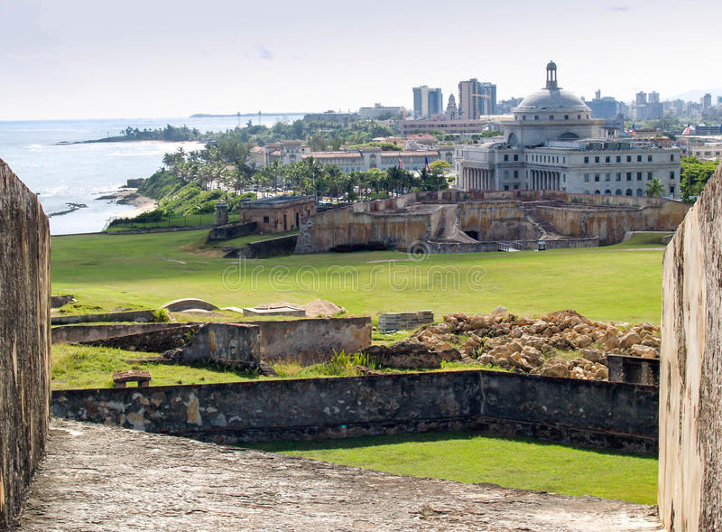 San Juan, Puerto Rico-city and ocean view from fortress stock image