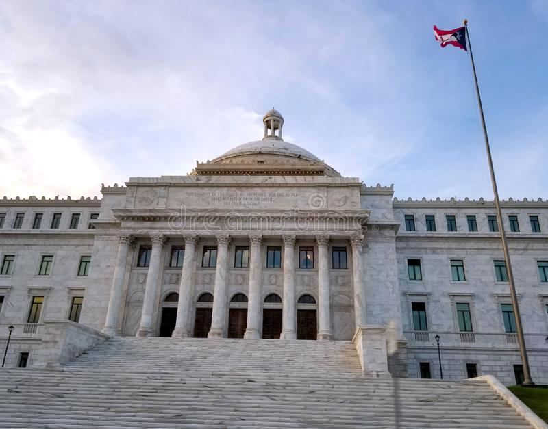 SAN JUAN, PUERTO RICO - Sep 2017 - The Puerto Rico Capitol Government Building located near the Old San Juan historic area. royalty free stock photo