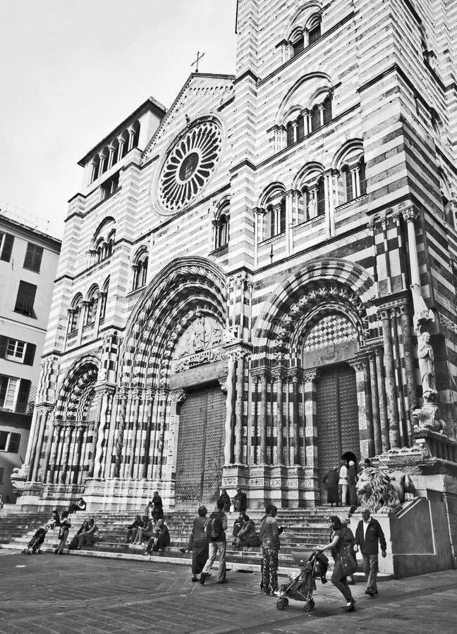 San Lawrence Cathedral di Genova Italia fotografia stock