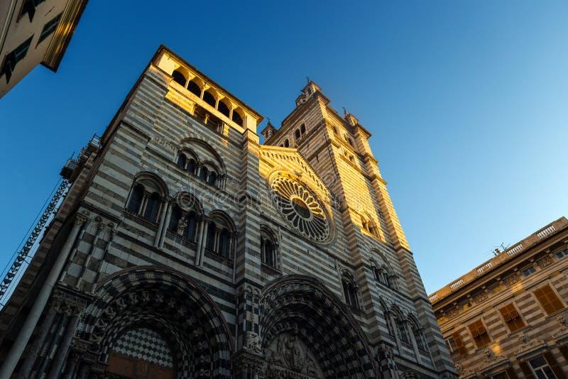 San Lawrence Cathedral, Di San Lorenzo di Cattedrale al tramonto in Genoa Genova, Italia fotografie stock libere da diritti