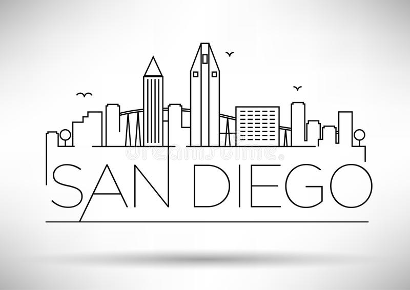San lineare Diego City Silhouette con progettazione tipografica illustrazione di stock