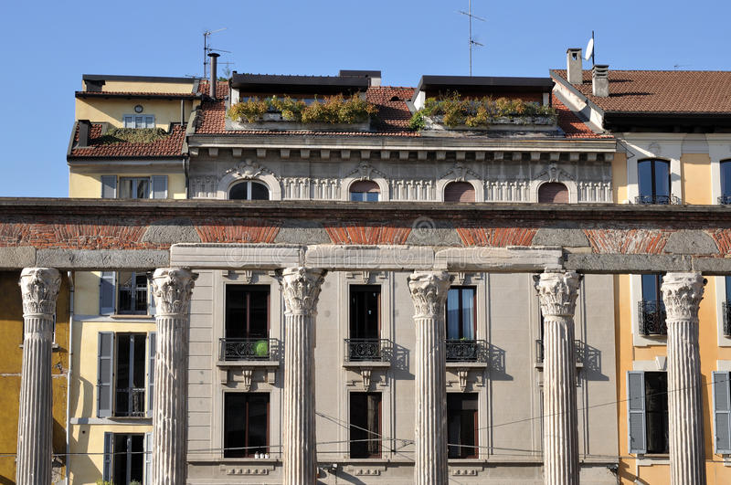 San lorenzo arcade, milano. Foresight of roman arcade in front of ancient church, shot in bright autumnal light stock images