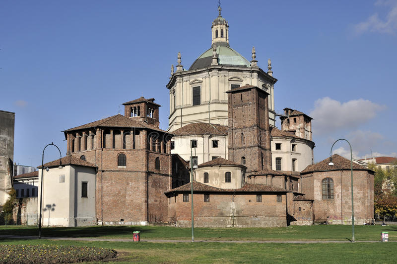 San lorenzo back side, milano. Skyline of ancient church prospecting the park at the back, shot in bright autumnal light stock images