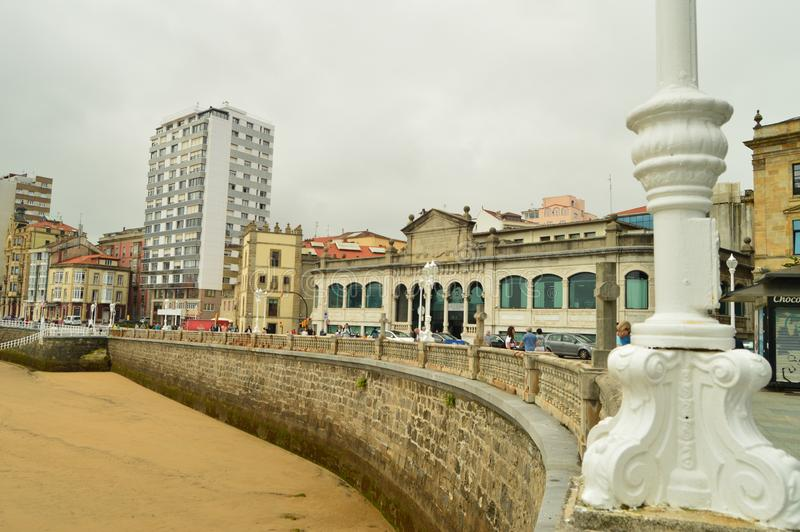 San Lorenzo Beach With Its Market Building Looking At The Sea In Gijon. Architecture, Travel, Holidays, Cities. July 31, 2018. Gijon, Asturias, Spain stock photo