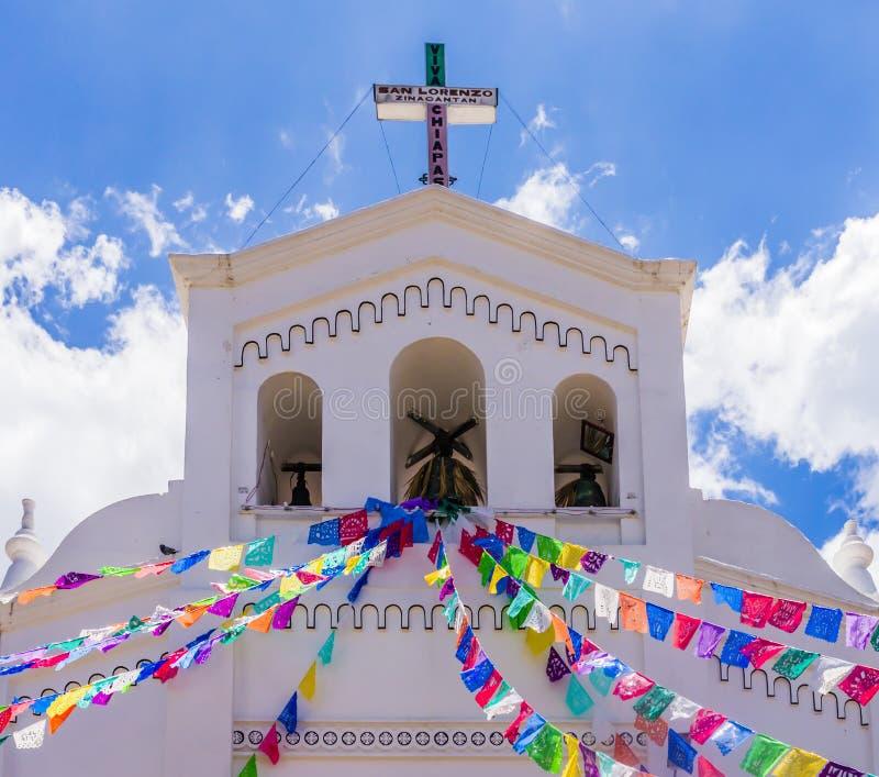 San Lorenzo church in colonial style, Zinacantan, Chiapas, Mexico. Colorful San Lorenzo church in colonial style, Zinacantan, Chiapas, Mexico stock image