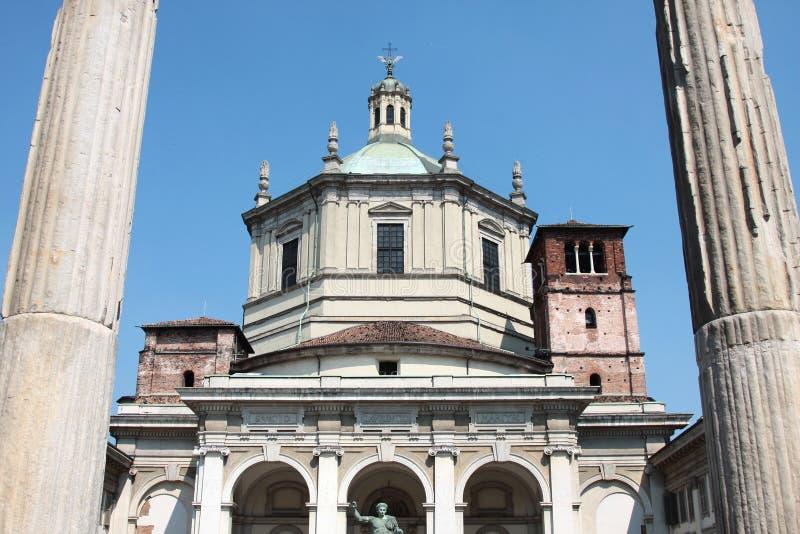 San lorenzo church in milan. Between two columns royalty free stock images