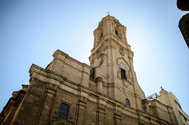 San lorenzo church. In huesca spain with the sun behind in a clear day stock photos