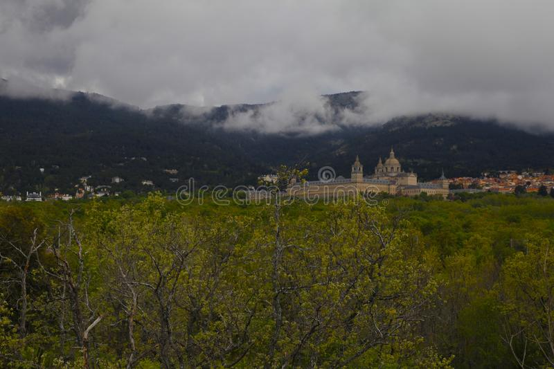 San Lorenzo del Escorial, Madrid, Espagne, le 7 mai 2019, vue de chaise de Felipe II photographie stock