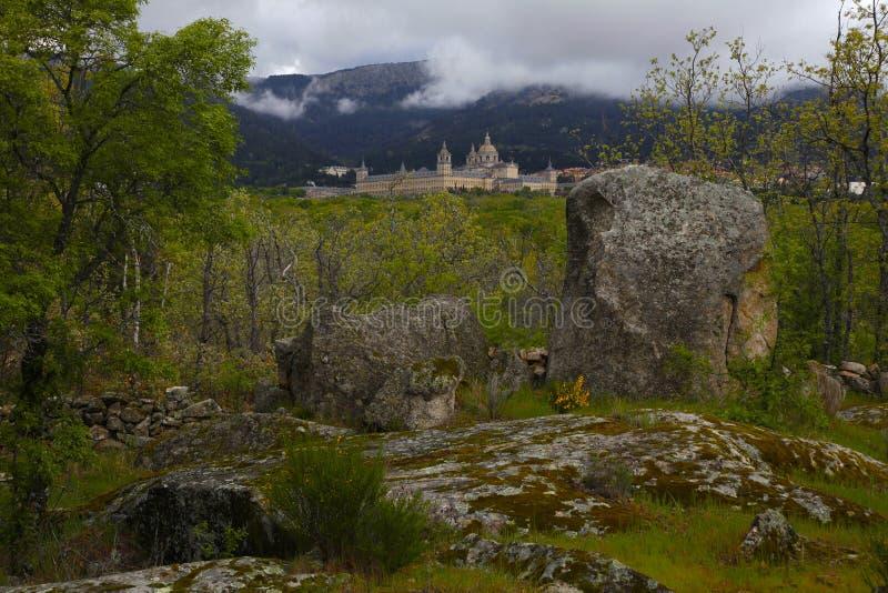 San Lorenzo del Escorial, Madrid, Spanje, 7 Mei, 2019, Weergeven van Felipe II Stoel royalty-vrije stock afbeelding