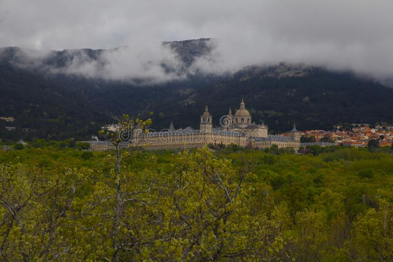 San Lorenzo del Escorial, Madrid, Spanje, 7 Mei, 2019, Weergeven van Felipe II Stoel royalty-vrije stock afbeeldingen
