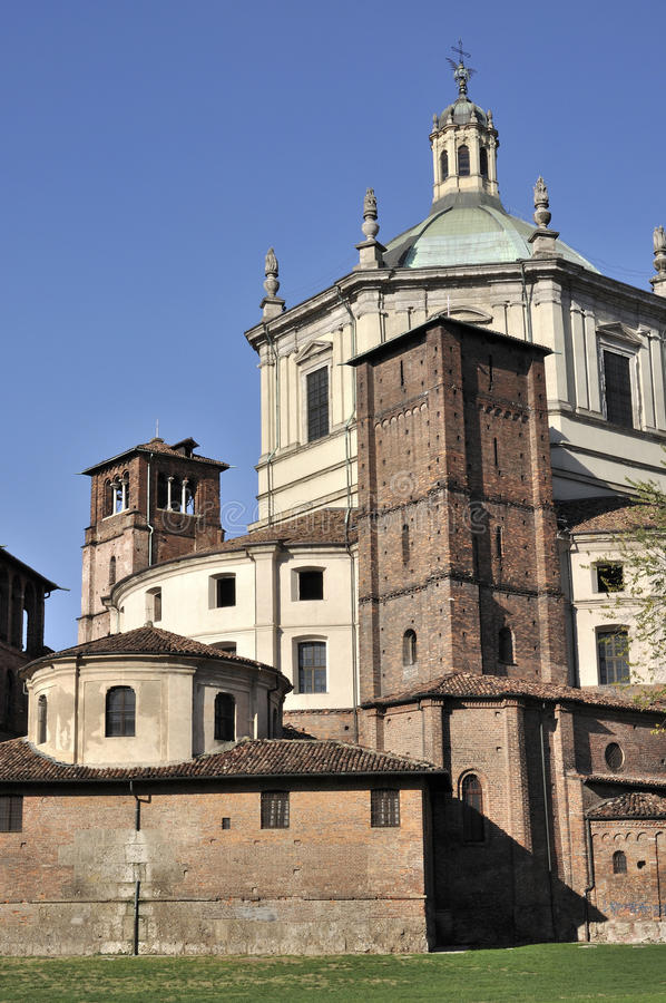San lorenzo east back side, milano. Back east side of ancient church, shot in bright autumnal light stock photography