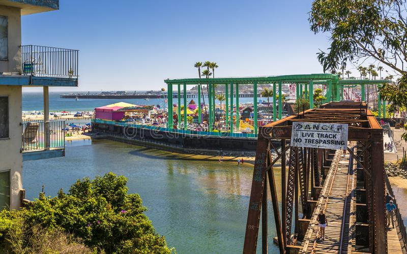 San Lorenzo linii kolejowej Rzeczny most, Santa Cruz, Kalifornia, Stany Zjednoczone Ameryka, Północna Ameryka fotografia stock