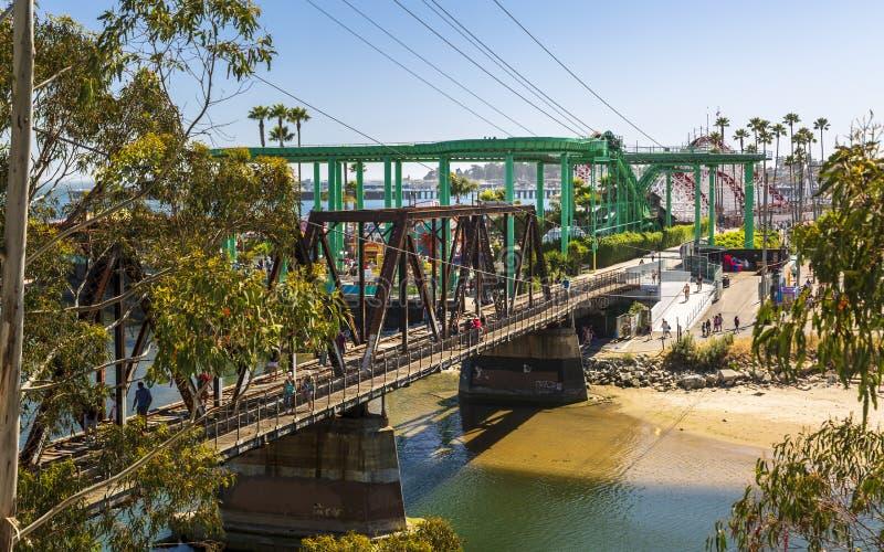 San Lorenzo River Railroad Bridge, Santa Cruz, la Californie, Etats-Unis d'Amérique, Amérique du Nord images stock