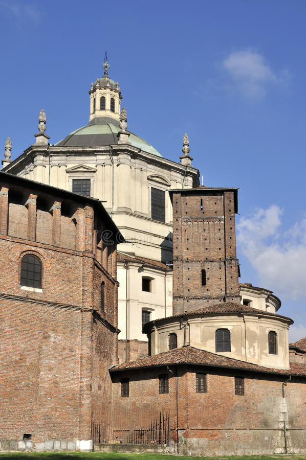San lorenzo south back side, milano. Back south side of ancient church, shot in bright autumnal light royalty free stock photos