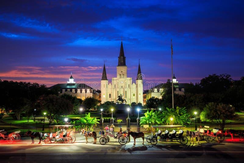 San Louis Cathedral e Jackson Square a New Orleans, Louisia immagini stock libere da diritti