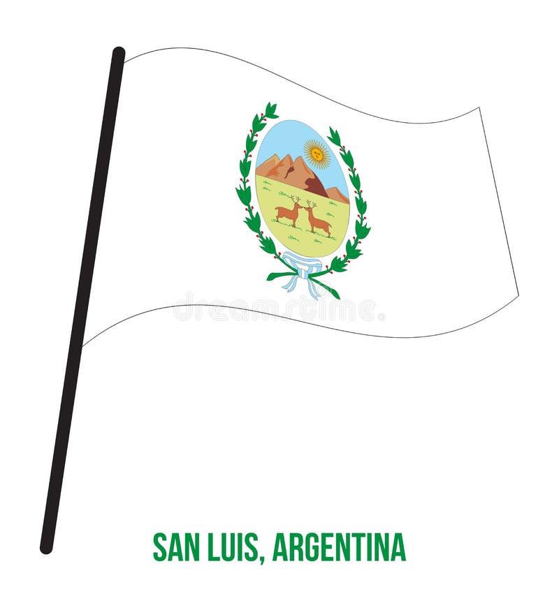 San Luis Flag Waving Vector Illustration på vit bakgrund Flagga av Argentina landskap stock illustrationer