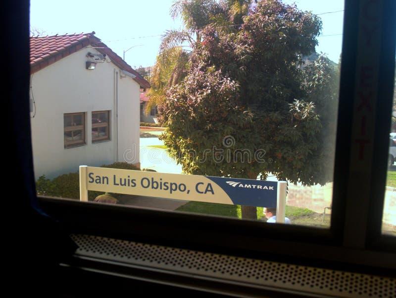 San Luis Obispo, Signage de Califórnia Amtrak do trem ilustração royalty free