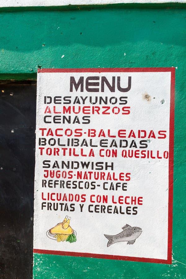 Free SAN MANUEL DE COLOHETE, HONDURAS - APRIL 15, 2016: Menu Of A Small Eatery In San Manuel Villag Royalty Free Stock Photos - 130824588