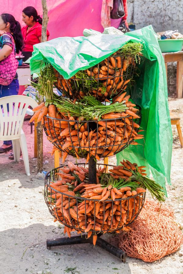 SAN MANUEL DE COLOHETE, HONDURAS - APRIL 15, 2016: Carrot at a market. There is a big market in this village twice a stock photography