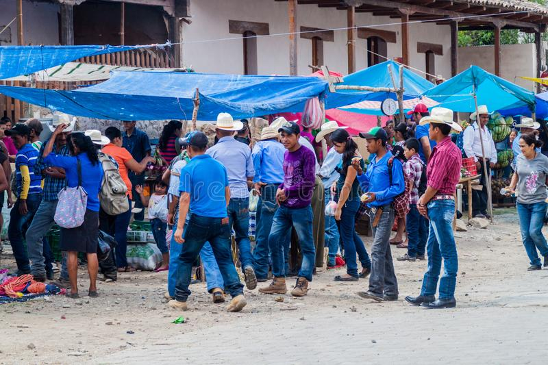 SAN MANUEL DE COLOHETE, HONDURAS - APRIL 15, 2016: Local indigenous people at a market. There is a big market in this royalty free stock photos
