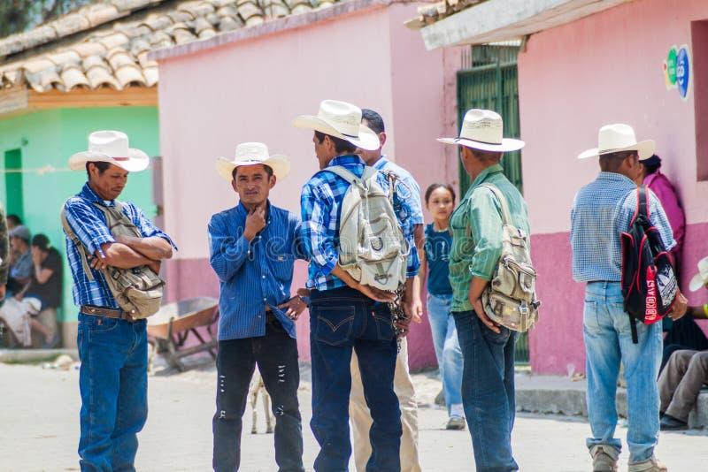 SAN MANUEL DE COLOHETE, HONDURAS - APRIL 15, 2016: Local indigenous people at the stree stock image