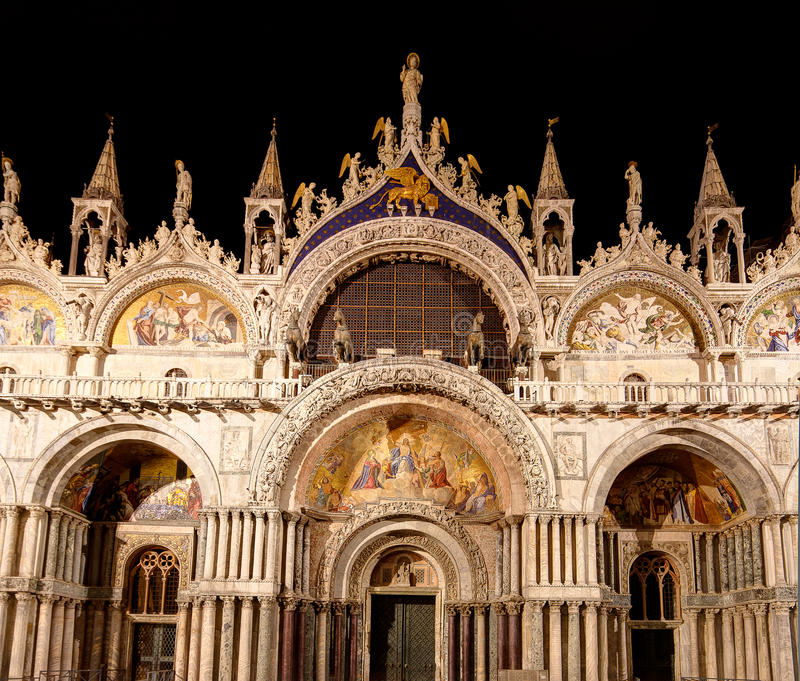 San Marco Basilica, St Mark's Cathedral, in Venice, Italy, at night stock images