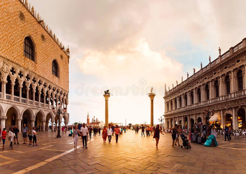San Marco square with Doge's Palace in sunset. Venice, Italy. royalty free stock images
