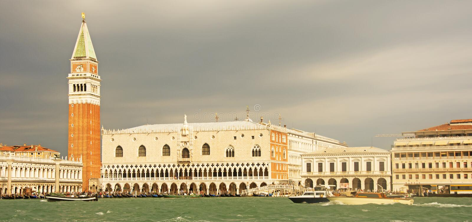 San Marco Square in Venice against a stormy sky royalty free stock images