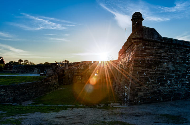 San Marcos Castle in St. Augustine. Historic San Marcos Castle in St. Augustine, Florida at sunset stock photography