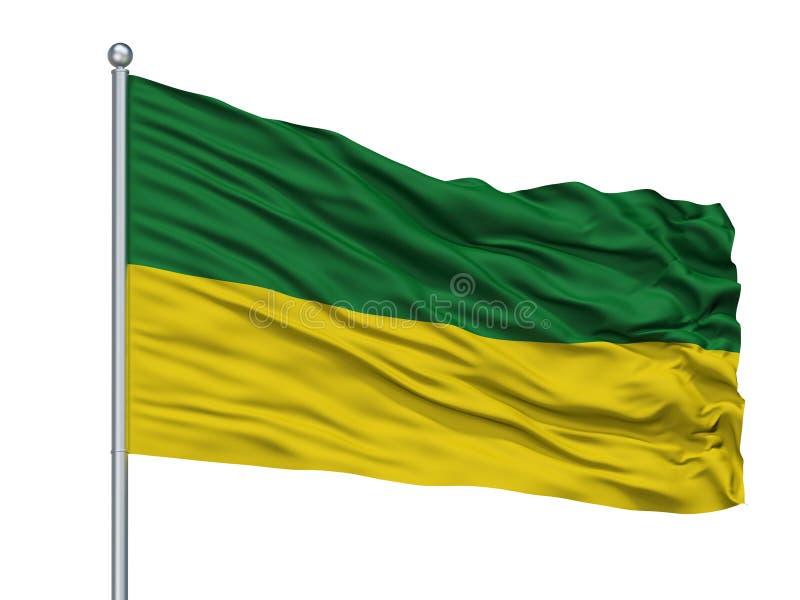 San Marcos City Flag On Flagpole, departamento de Colombia, Sucre, aislado en el fondo blanco ilustración del vector