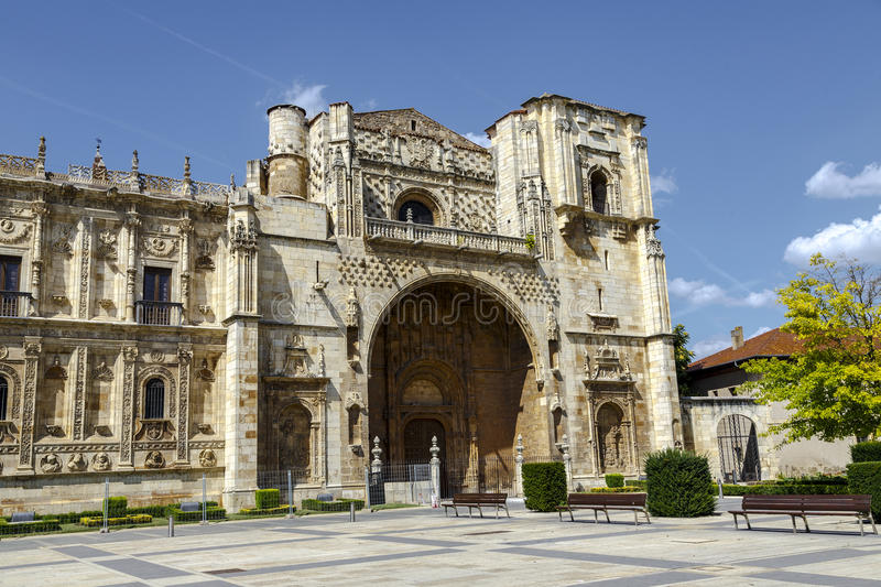 San Marcos Monastery of the sixteenth century in San Marcos square. Leon. Spain stock image