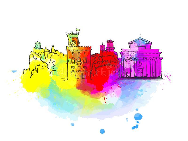 San Marino Colorful Landmark Banner vektor illustrationer