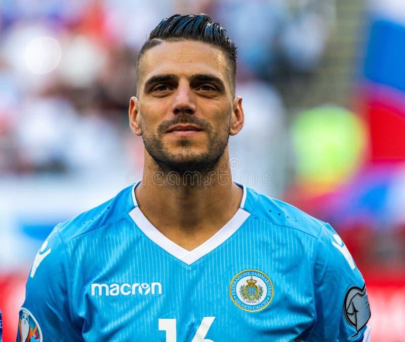 San Marino drużyny futbolowej krajowy strajkowicz Danilo Rinaldi obraz royalty free
