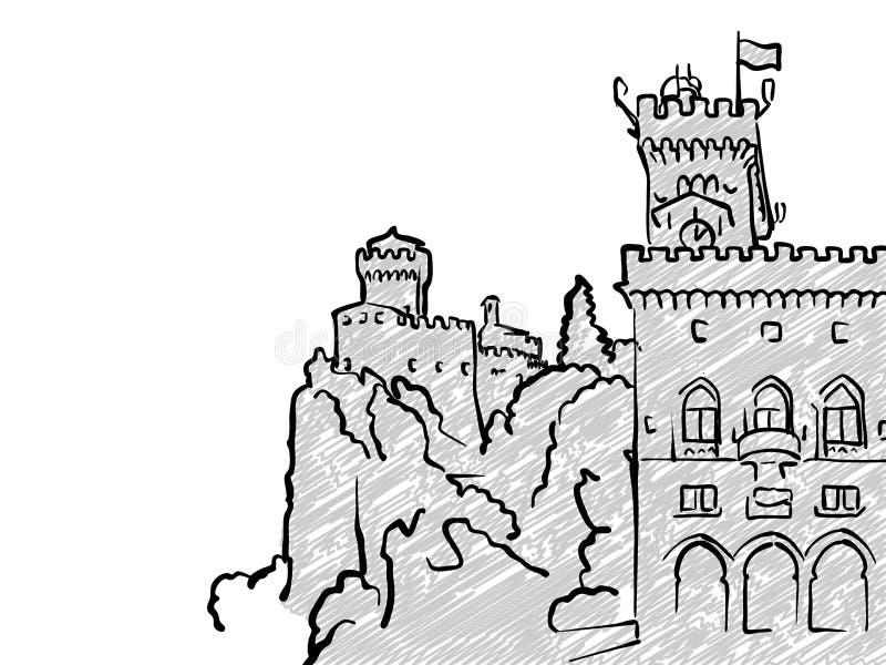 San Marino Famous Travel Sketch Stock Vector - Illustration of ...
