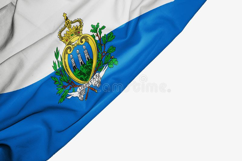 San Marino flag of fabric with copyspace for your text on white background. Banner best blue capital colorful competition country ensign europe european free royalty free illustration