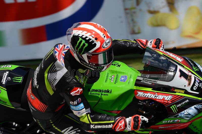 San Marino Italy - 11 maggio 2018: Jonathan Rea GBR Kawasaki ZX-10RR Kawasaki Racing Team, nell'azione fotografia stock libera da diritti