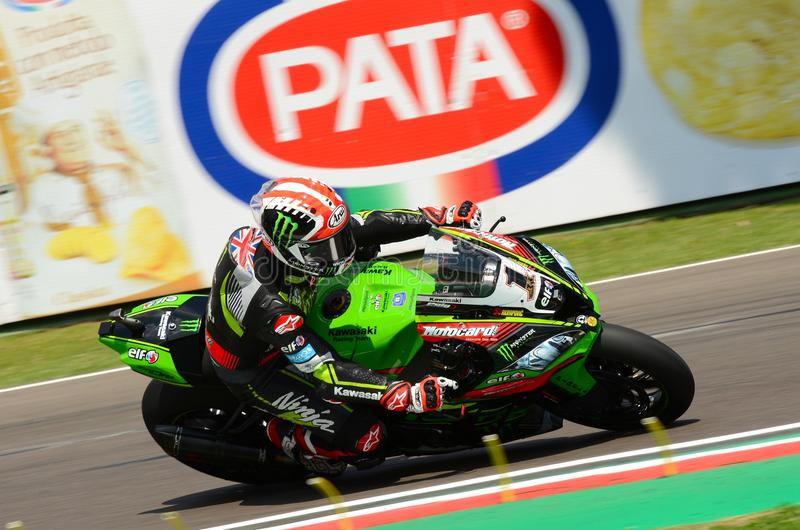 San Marino Italy - 11 maggio 2018: Jonathan Rea GBR Kawasaki ZX-10RR Kawasaki Racing Team, nell'azione fotografia stock