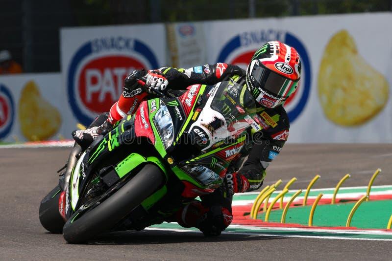 San Marino Italy - 11 maggio 2018: Jonathan Rea GBR Kawasaki ZX-10RR Kawasaki Racing Team, nell'azione durante il Superbike che s immagini stock libere da diritti