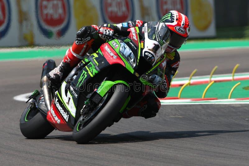San Marino Italy - 11 maggio 2018: Jonathan Rea GBR Kawasaki ZX-10RR Kawasaki Racing Team, nell'azione durante il Superbike che s immagine stock libera da diritti
