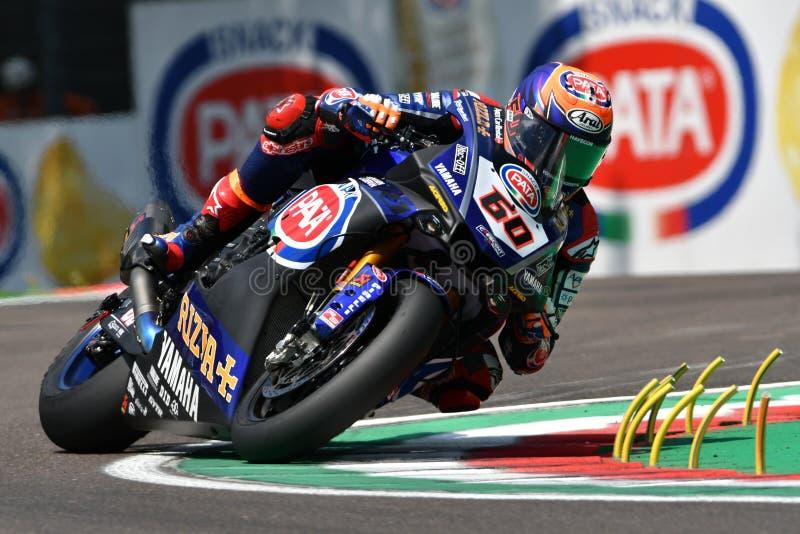 San Marino Italy - Maj 11, 2018: Mark NED Yamaha YZF R1 Pata Yamaha Official WorldSBK för Michael skåpbilder lag, i handling royaltyfri foto