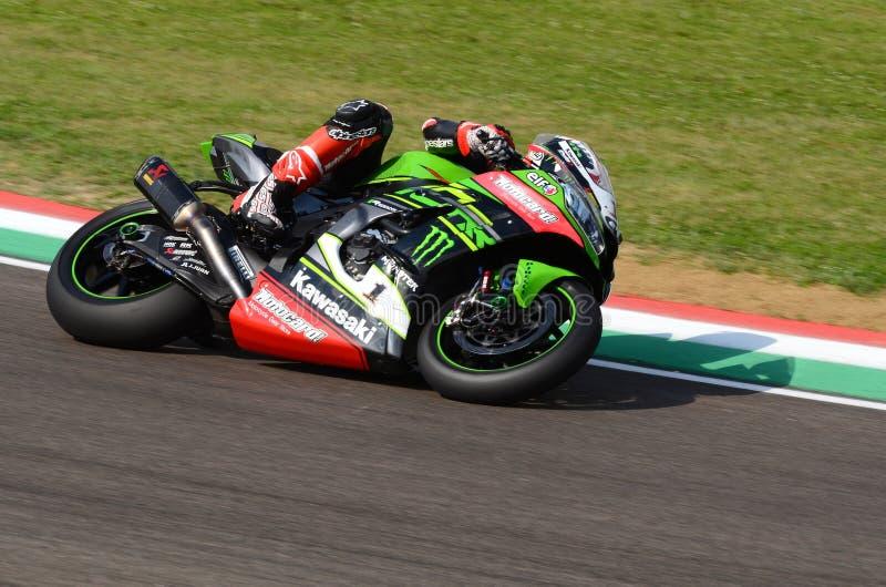 San Marino Italy - May 11, 2018: Jonathan Rea GBR Kawasaki ZX-10RR Kawasaki Racing Team, in action. During the Superbike Qualifying session on May 11, 2018 in stock image